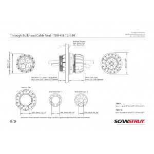 Scanstrut TBH-4 Through Bulkhead Seal for 4 x 16mm cables