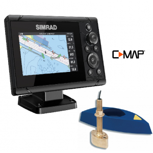 SIMRAD Cruise-5 with B45 Through-Hull Transducer and C-MAP Chart