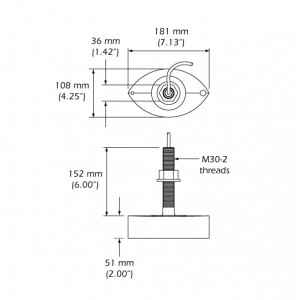 X-Sonic B258 1kW 50/200kHz Thru-hull Transducer