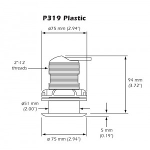 X-Sonic P319 600W 50/200kHz Thru-Hull Transducer