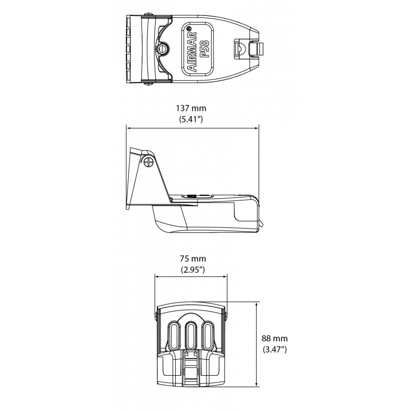 Airmar P58 600W 50/200kHz Transom Transducer (Depth, Speed