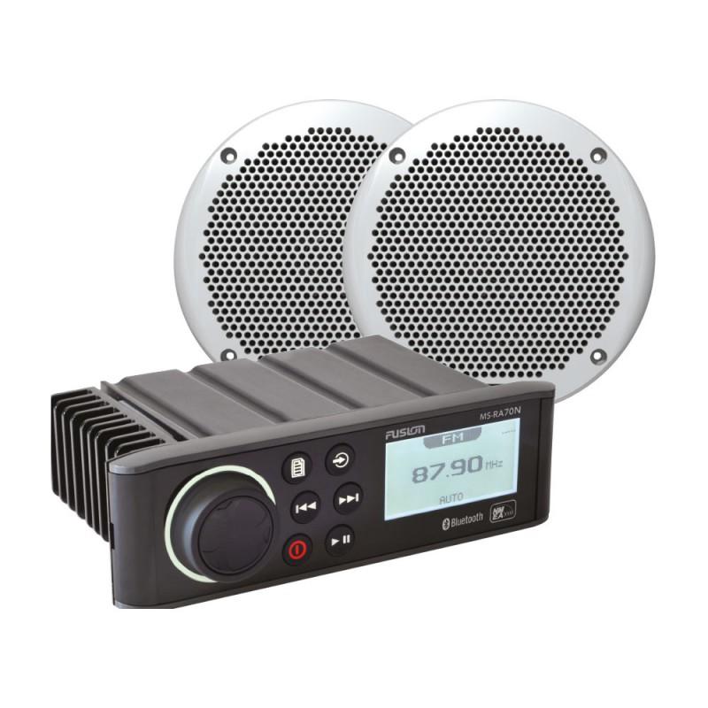 "Fusion RA70 Marine Stereo with 6"" Marine Speaker Bundle"