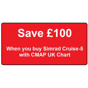 SIMRAD Cruise-5 with 83/200kHz Skimmer Transducer and CMAP UK Chart